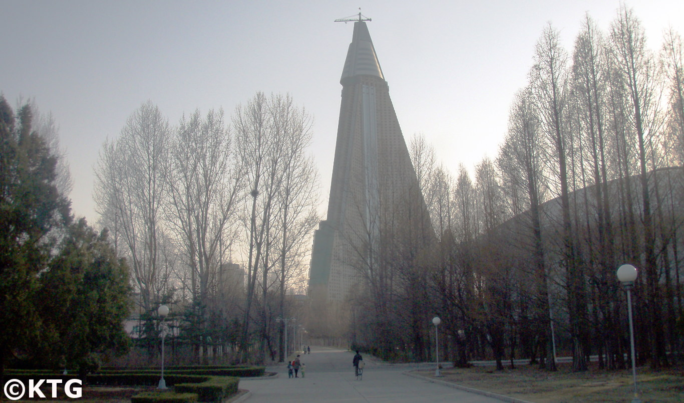Close up picture of the Ryugyong Hotel in 2010. Picture taken on a trip arranged by KTG Tours