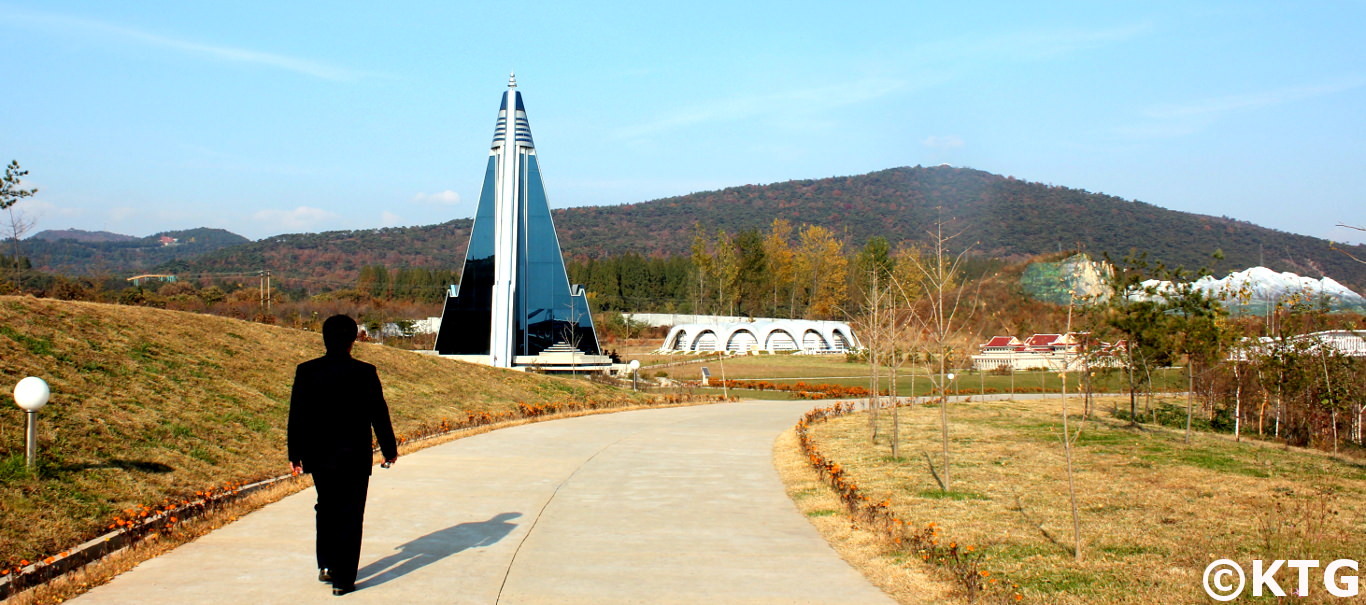 The Ryugyong Hotel in mini Pyongyang with KTG Tours