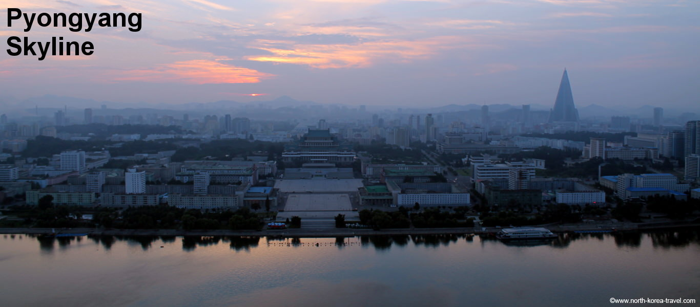 Pyongyang Skyline taken from the Juche Tower at sunset. The Ryugyong Hotel can be distinctingly seen