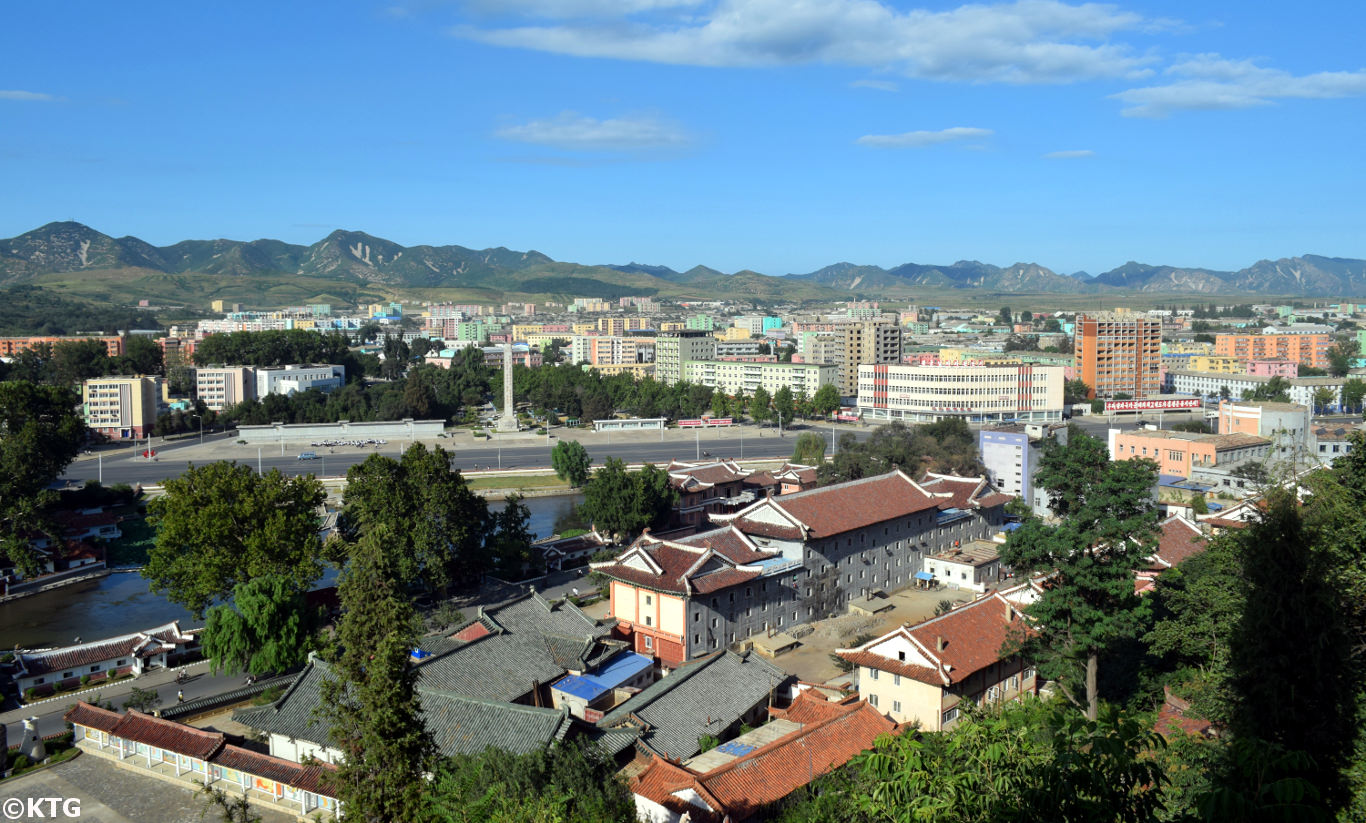 Views of Sariwon City from Mount Kyongnam Pavilion in North Korea, DPRK