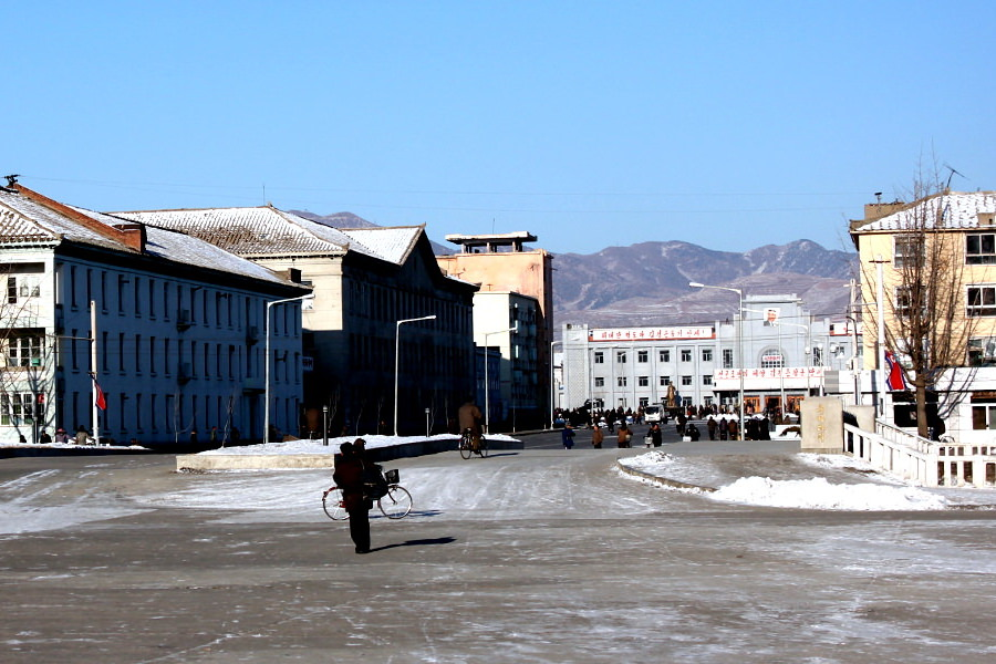 Sariwon train station seen from the March 8 Hotel in Sariwon city, North Korea. Picture taken by KTG