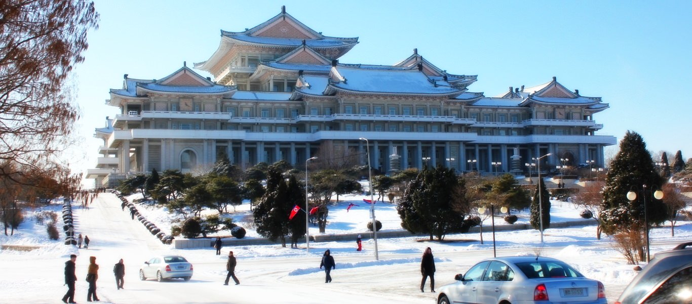 Winter in North Korea - the Grand People's Study House seen in late dicembre