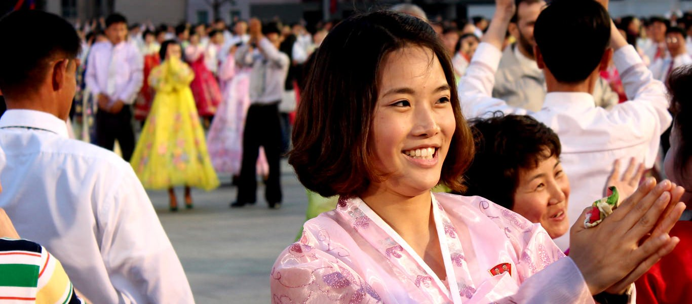 North Korean university student at a Mass Dancing event in Pyongyang