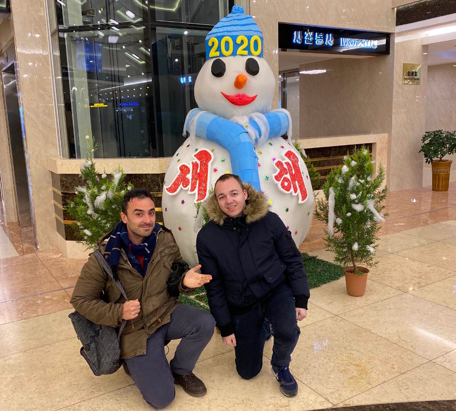 Snowman at the Yanggakdo Hotel in Pyongyang, North Korea. Trip arranged by KTG Tours