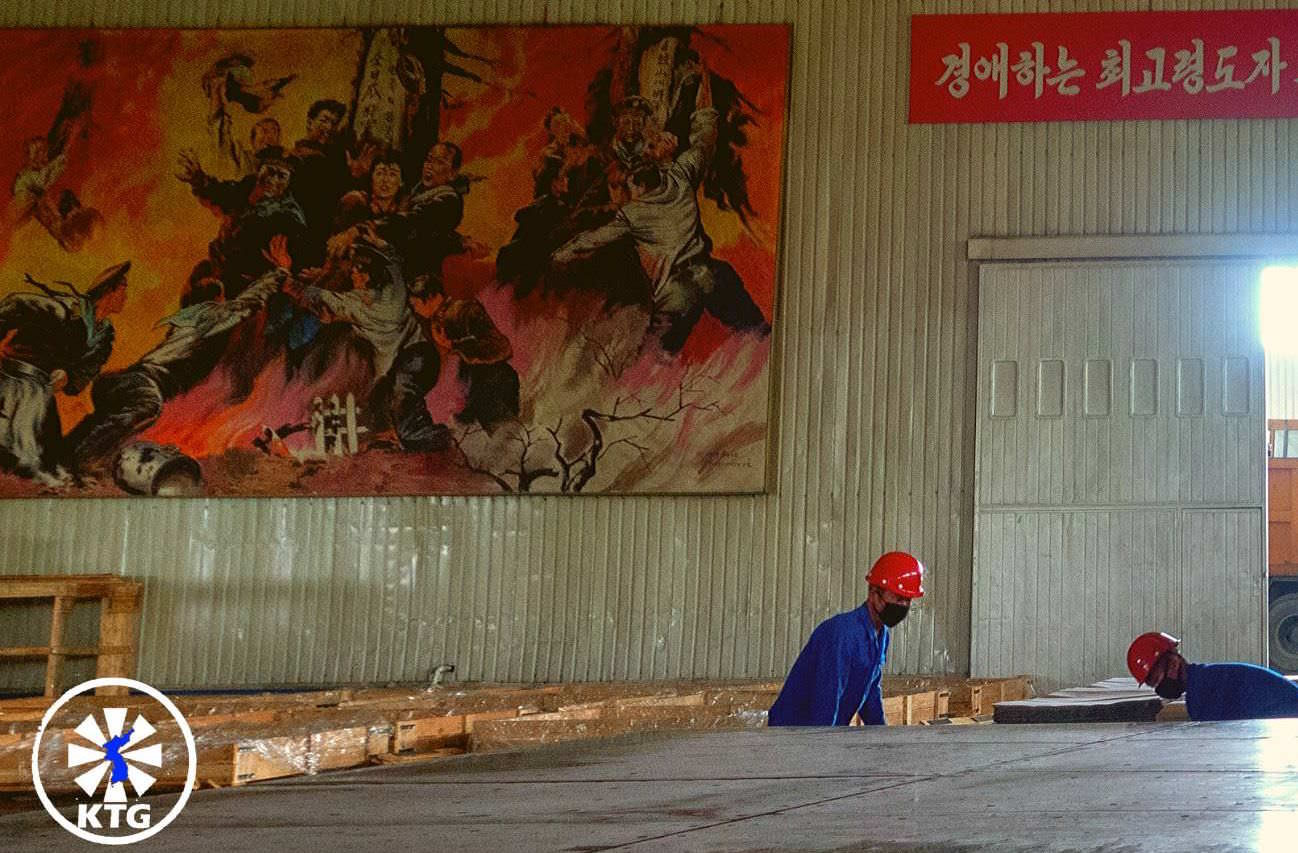 Glass manufacturing factory near Nampo in North Korea, DPRK. Picture taken by and trip arranged by KTG tours