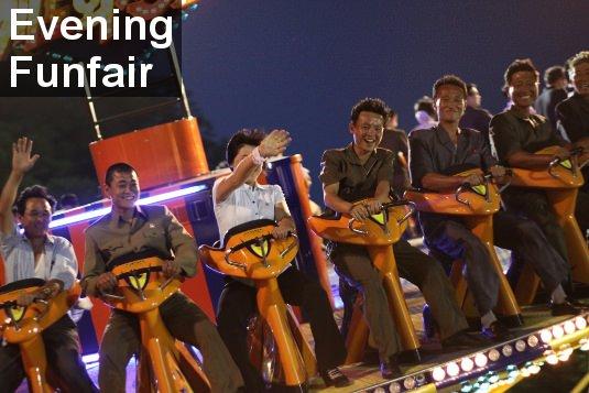 Parque de atracciones nocturno de Taeson en Corea del Norte
