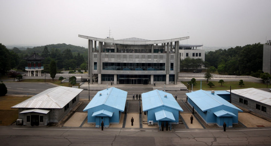 North and South Korean soldiers at the DMZ (Panmunjom) on the North Korean side (DPRK)