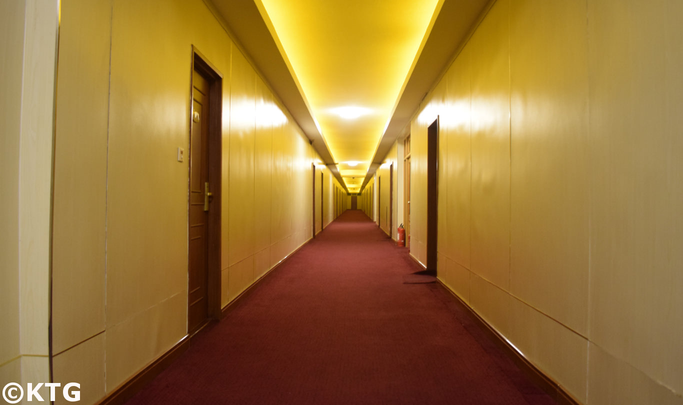 Long corridors at the Pyongyang Hotel, a second class low budget hotel in North Korea (DPRK)