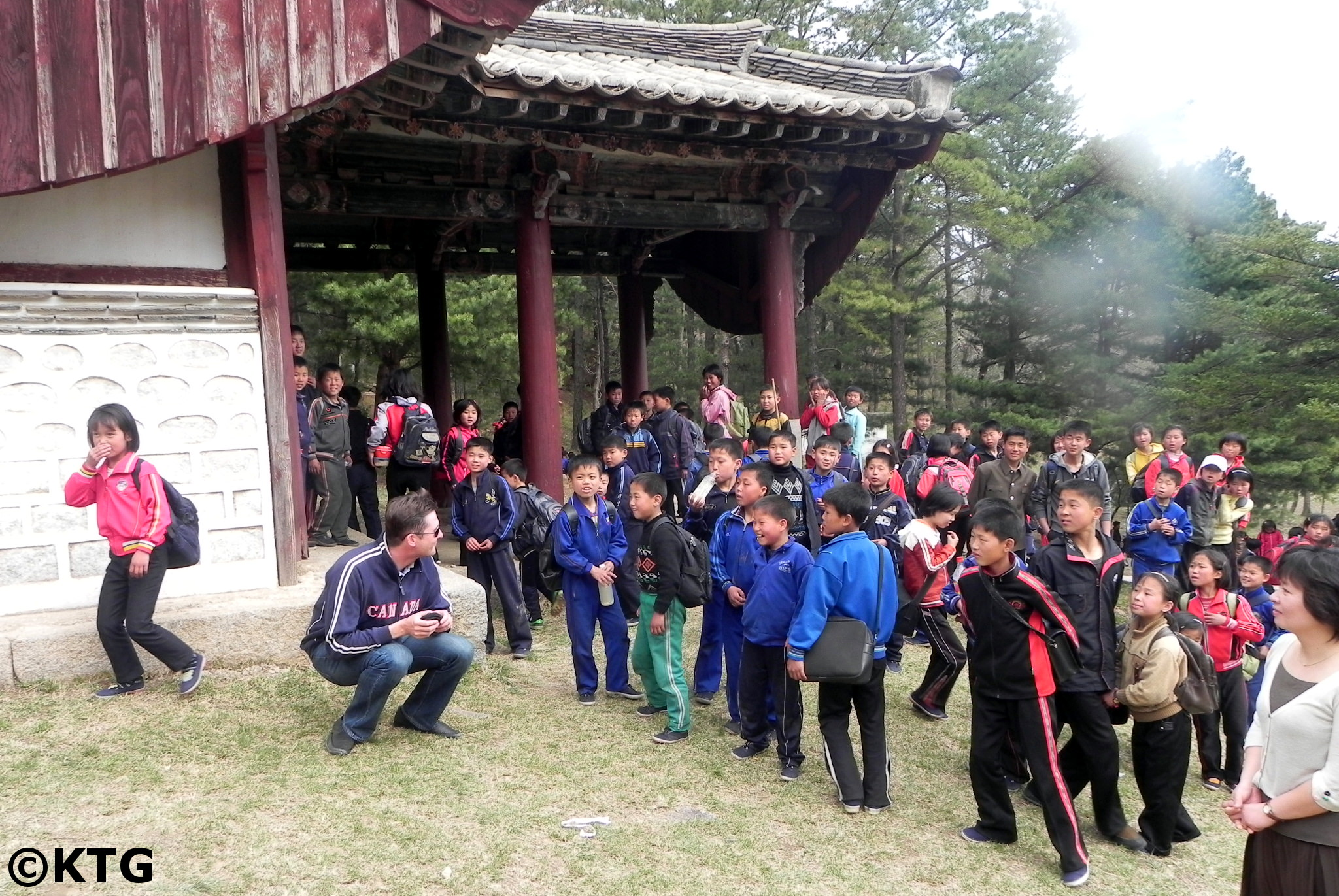 Tomb of King Kongmin. North Korean school children visiting the place a few days before May Day