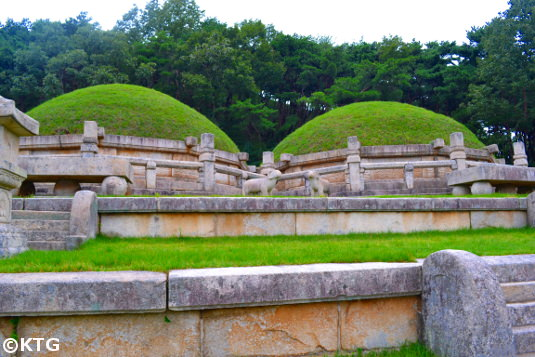 Twin tombs of King Kongmin and his Mongolia wife in Kaesong, North Korea (DPRK). These tombs have undergone little restoration and conserve much of their original state. Visit this UNESCO World Heritage site with KTG Tours