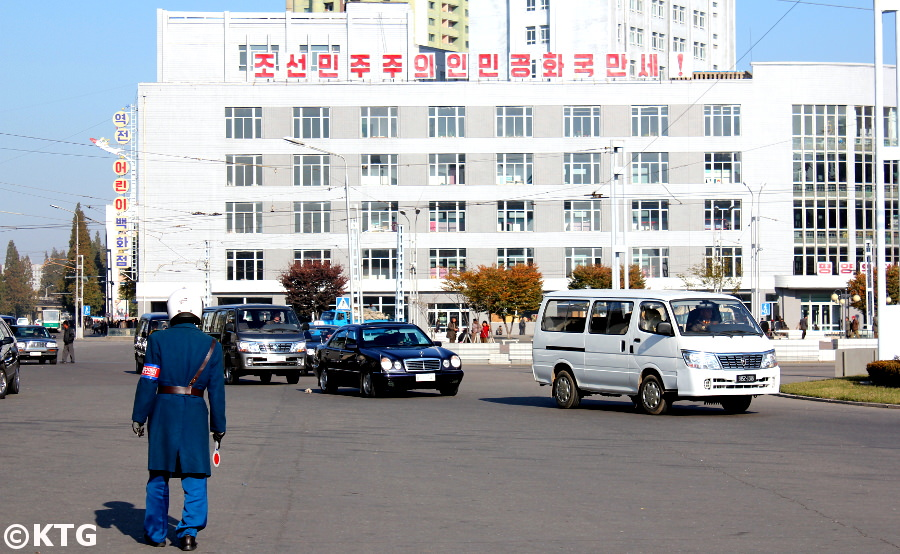 Traffic policeman in Pyongyang capital city of North Korea. Picture taken by KTG Tours
