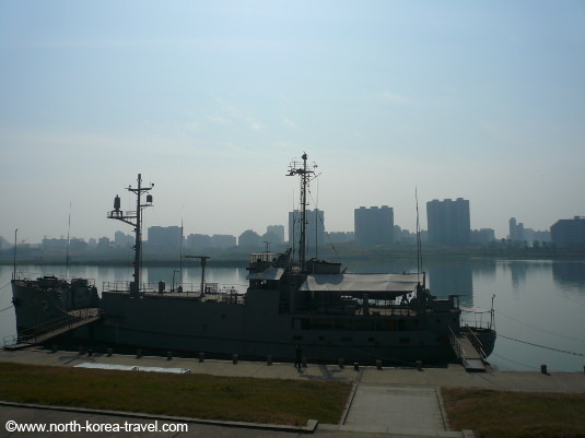 USS Pueblo at its original location by the Taedong River. It has now been moved