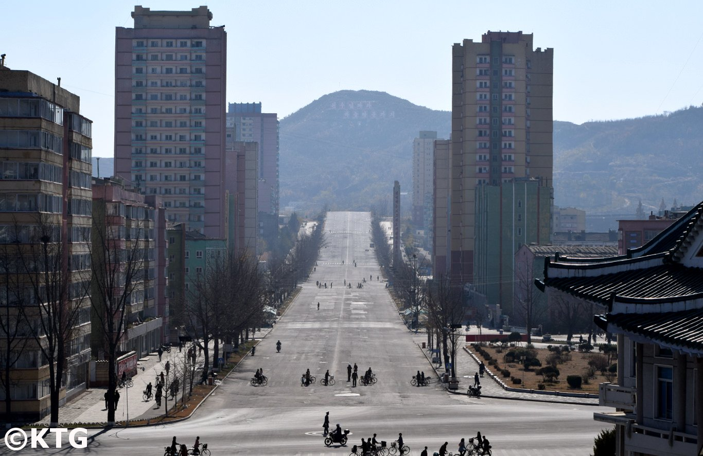 Views of the main street of Kaesong from Janam Hill, North Korea (Democratic People's Republic of Korea). Tour arranged by KTG Travel