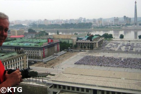 Views of Kim Il Sung Square in Pyongyang, North Korea, from the Grand Popel's Study House. DPRK trip arranged by KTG Tours