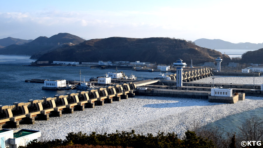 West Sea Barrage (North Korea) in February - the West Sea of Korea is partly frozen in this image