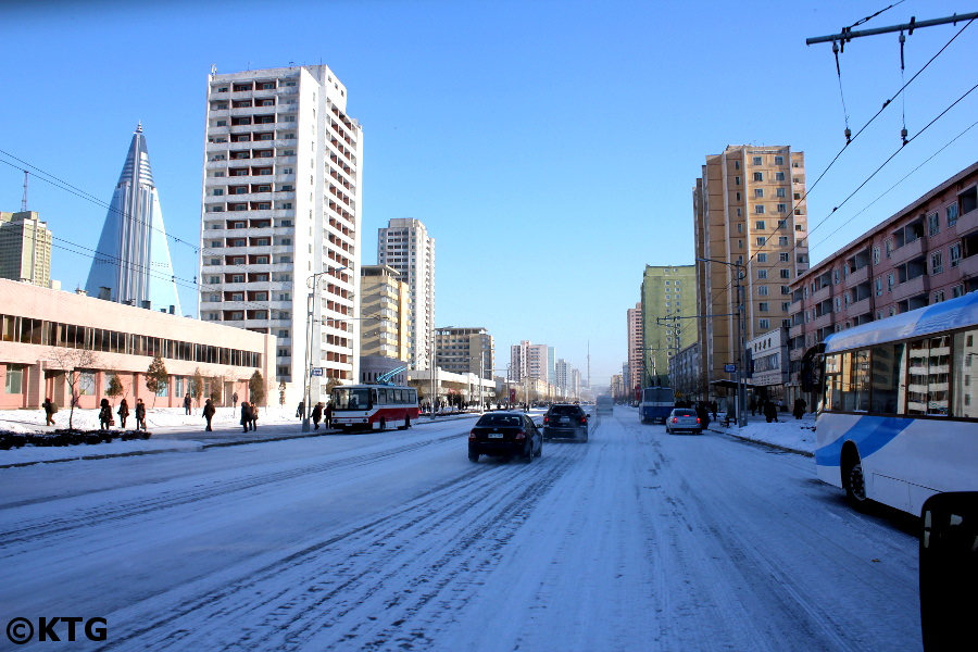 Driving in Pyongyang in the winter. Picture taken by KTG Tours