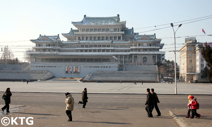 Kim Il Sung square in the winter, North Korea. Notice the dots on the floor to mark people's positions during mass rallies and military parades