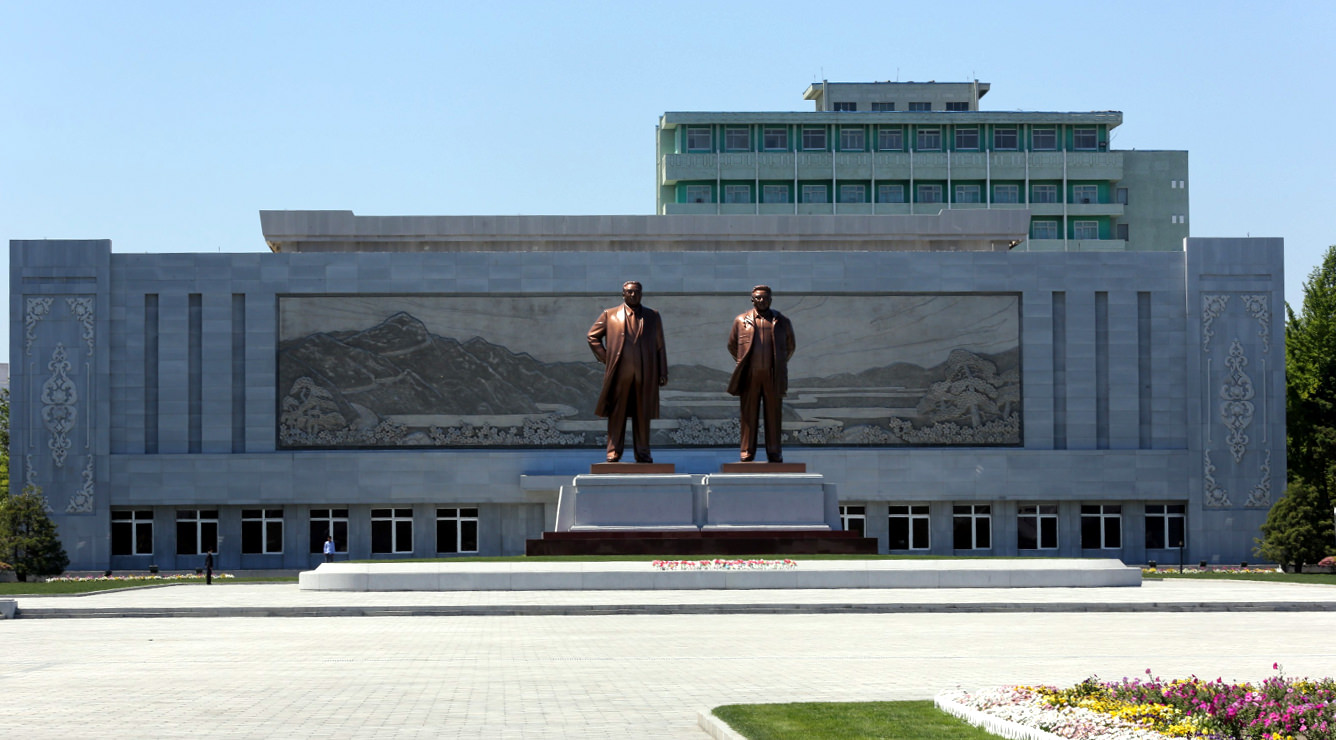 Statue of President Kim Il Sung and Chairman Kim Jong Il in Wonsan