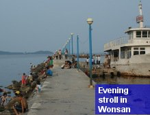 Evening stroll in Wonsan on the east coast of North Korea