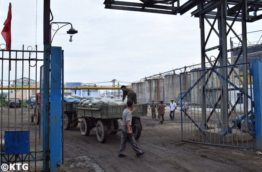 Workers at the Hungnam Fertiliser factory in North Korea (DPRK)