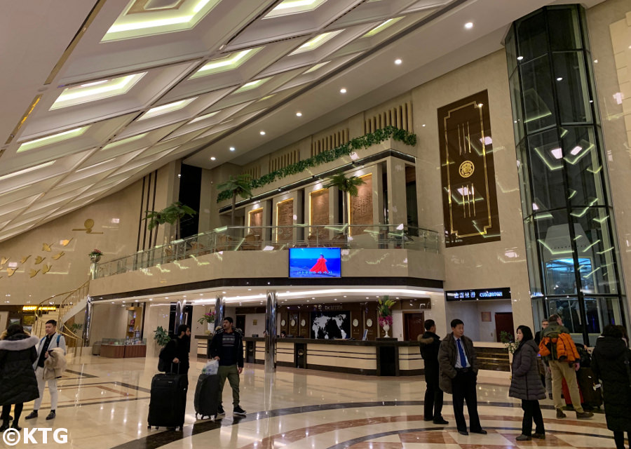 Lobby of the Yanggakdo Hotel one of the best hotels in Pyongyang the capital of North Korea (DPRK). Trip arranged by KTG Tours