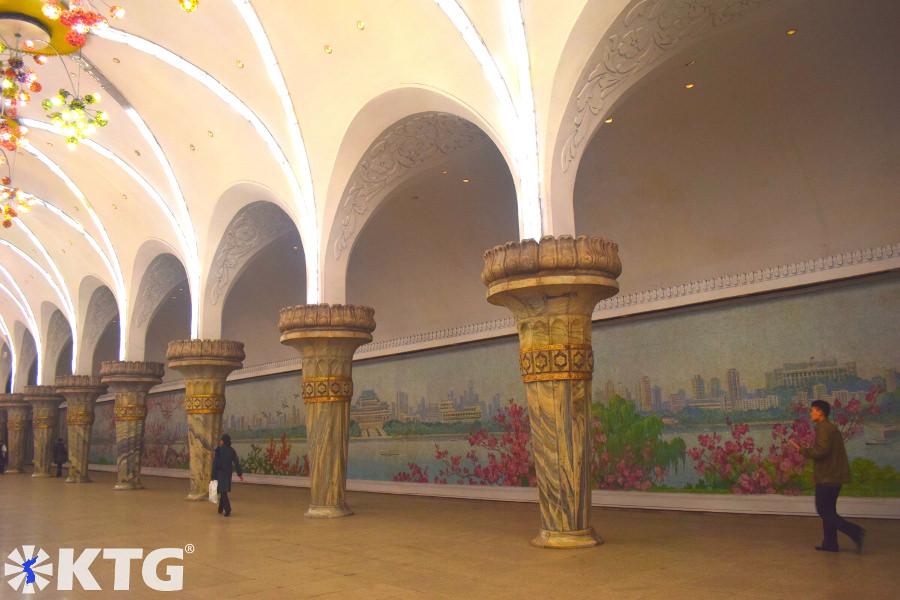 Yonggwang (Glory) station in Pyongyang metro, North Korea. Picture of North Korea taken by KTG Tours