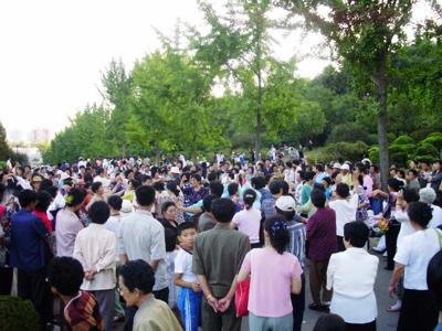 People dancing in Pyongyang
