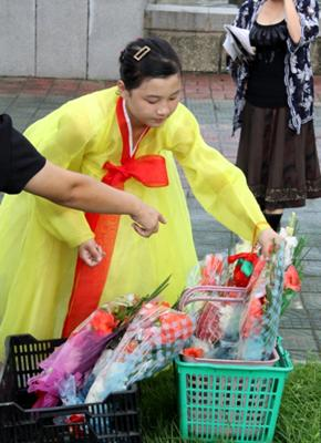 Korean lady picking flowers