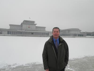 Snowy day at the Kumsusan Memorial Palace