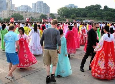 Dancing with locals in Pyongyang (Photo taken by Filip A.)